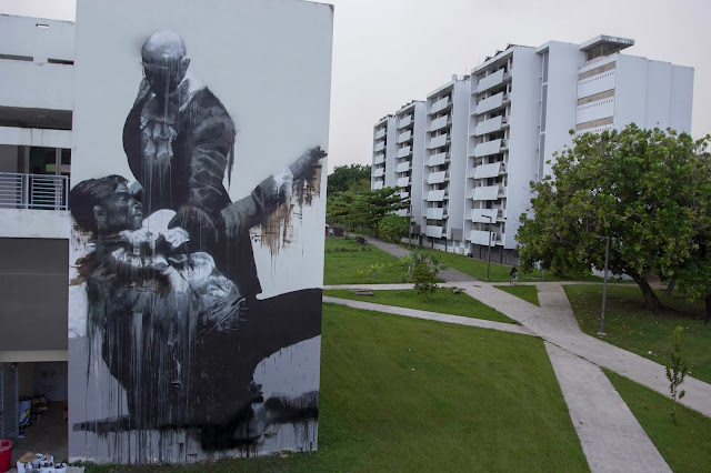 """San Juan Fight Club"" New Street Art By Conor Harrington In Puerto Rico For Los Muros Hablan 2013. 3"