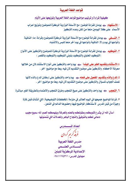 كيفية قراءة قواعد اللغة العربية وترتيب المواضيع على الايام للمبدع الأستاذ فرقد كريم
