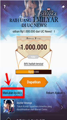 Gambar Cara Mendapatkan Uang Rp. 1.000.000 dari UC News