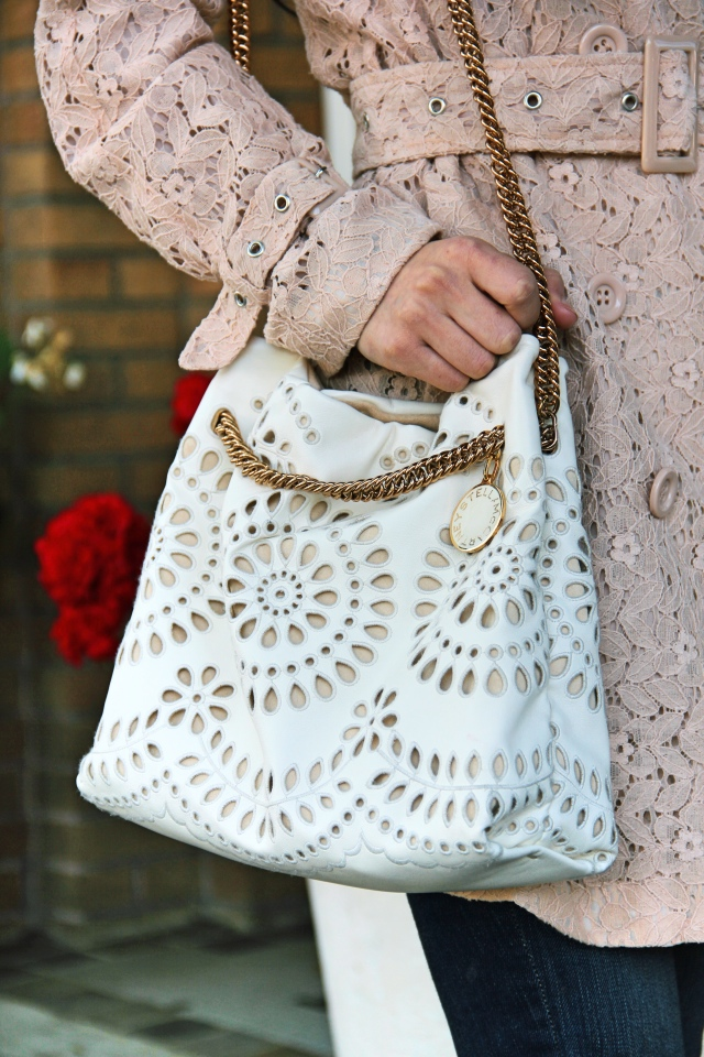 stella mccartney noma eyelet vegan leather bucket bag ivory lace