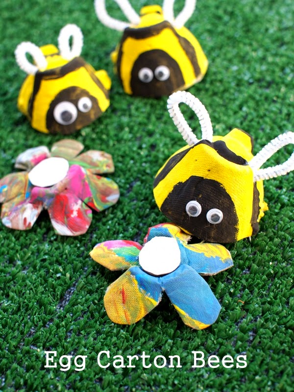 egg carton bees and flowers kids' craft