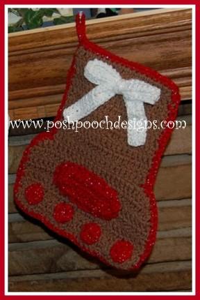 Free Dog Christmas Stocking Crochet Pattern : Posh Pooch Designs Dog Clothes: Paw Print Christmas ...