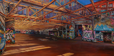 Plein air oil painting ofgraffiti in the abandoned Dunlop Slazenger factory in Alexandria painted by industrial heritage artist Jane Bennett