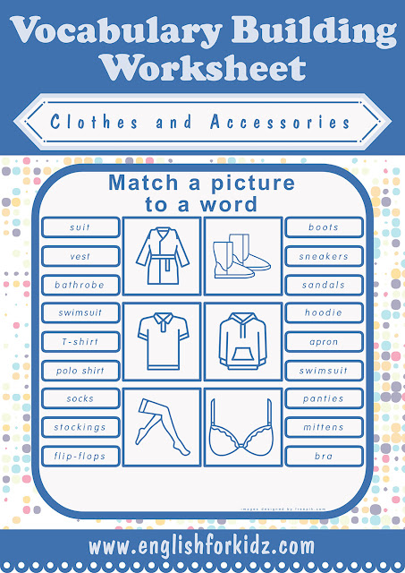 Free printable clothes worksheets