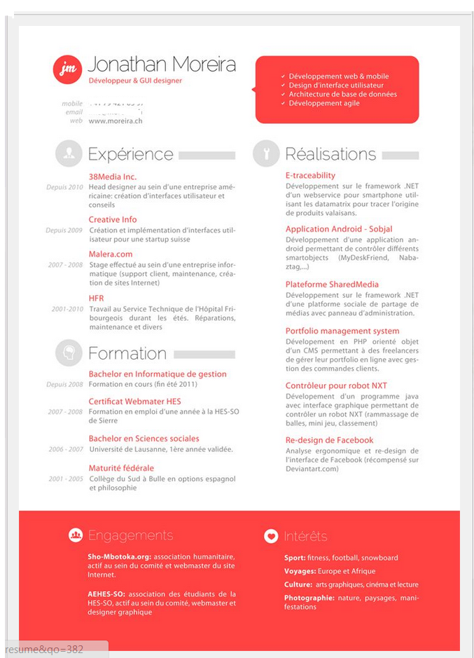 The TwoColumn Resume Option  simone jenifer design.