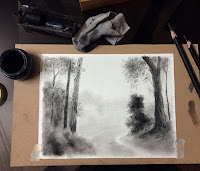 Charcoal drawing of a landscape from Coorg By Manju Panchal