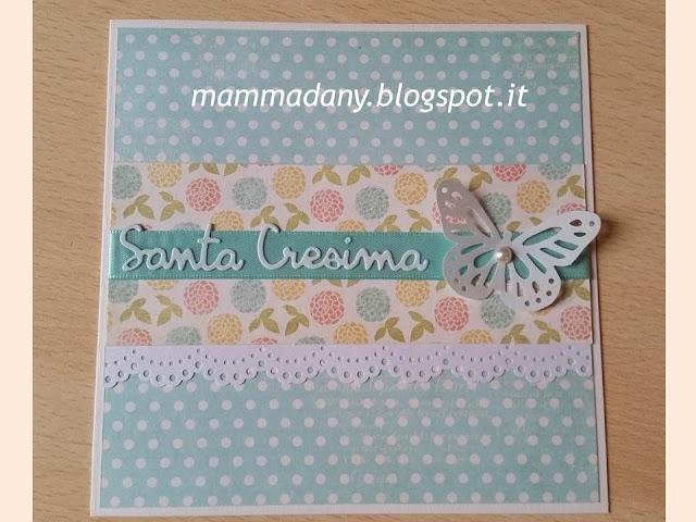 Card di Santa Cresima color tiffany con farfalla