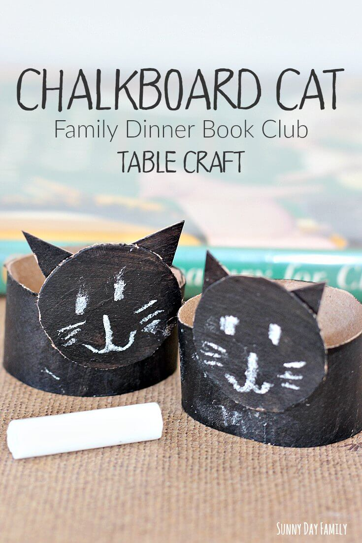Make this cute chalkboard cat craft for kids as part of this month's Family Dinner Book Club! Kids love to draw cat faces on these fun chalkboard kitties.