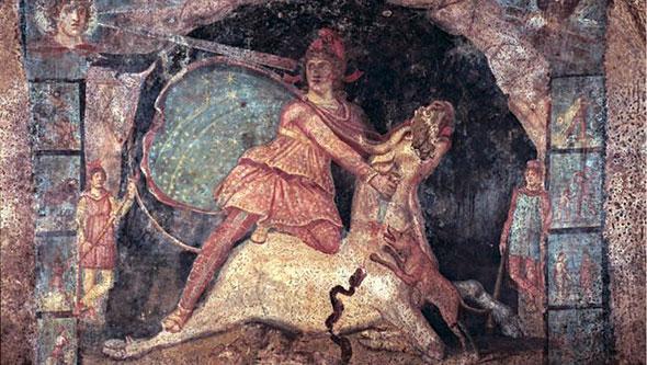 pintura de mitra asesinando a un toro