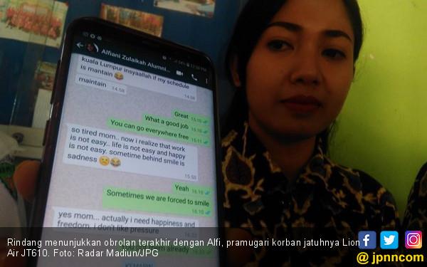 Alfi, si Cantik Itu Curhat Sehari sebelum Tragedi Lion Air