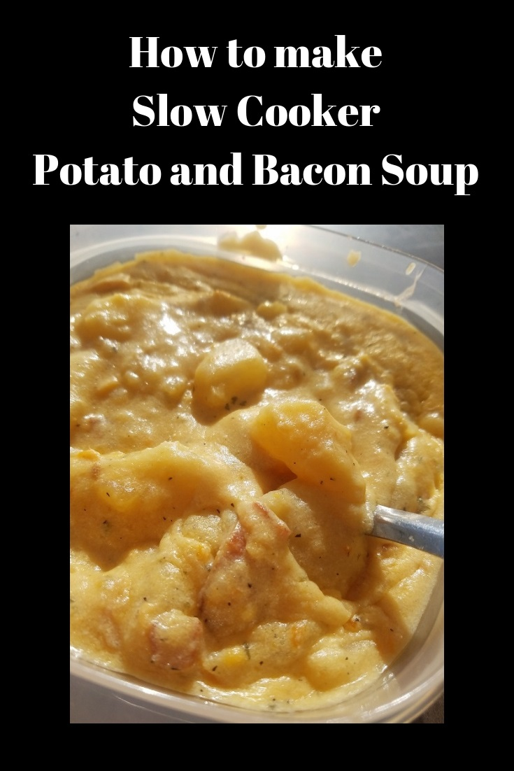 this is how to make the best creamy potato soup with bacon. This soup is easy and done in a slow cooker and this recipe shows step by step instructions on how to make potato soup in a slow cooker.