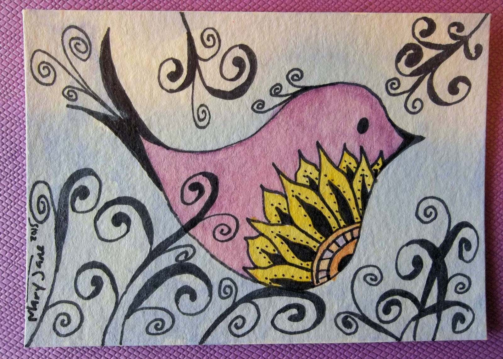 the embellished artist zen doodle birthday card and aceo