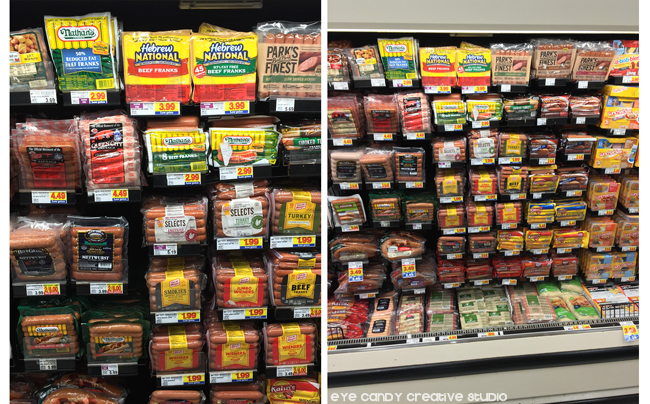 in store photo of Hebrew National hot dogs, chili dog, hot dogs, Kroger