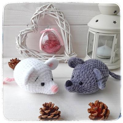 Вязаные мышки амигуруми