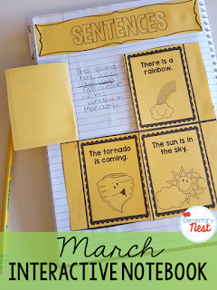 Interactive Notebook activities for the month of March- getting kids working hands on with their ela and math skills