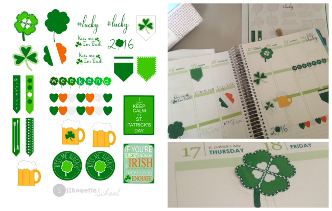 Silhouette Studio, free cut files, St. Patrick's day sticker set