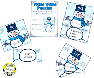 Snowman Math Stations, Winter Math Stations, Place Value, Planet Happy Smiles