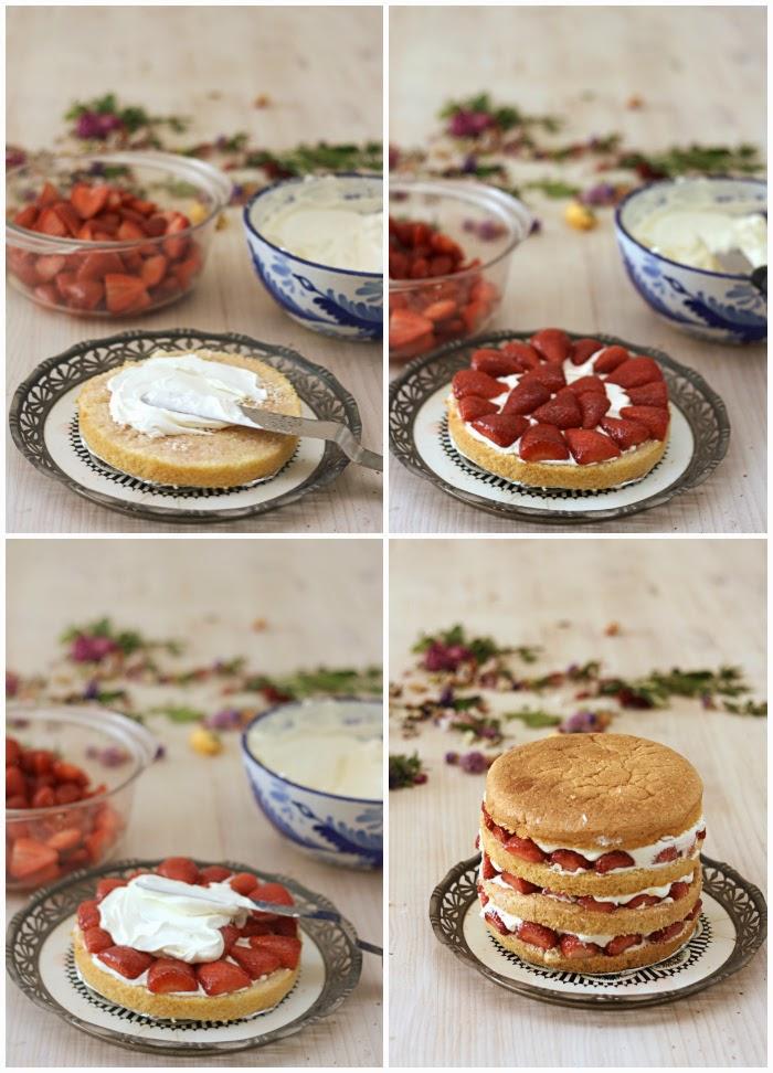 tarta de fresas y rosas