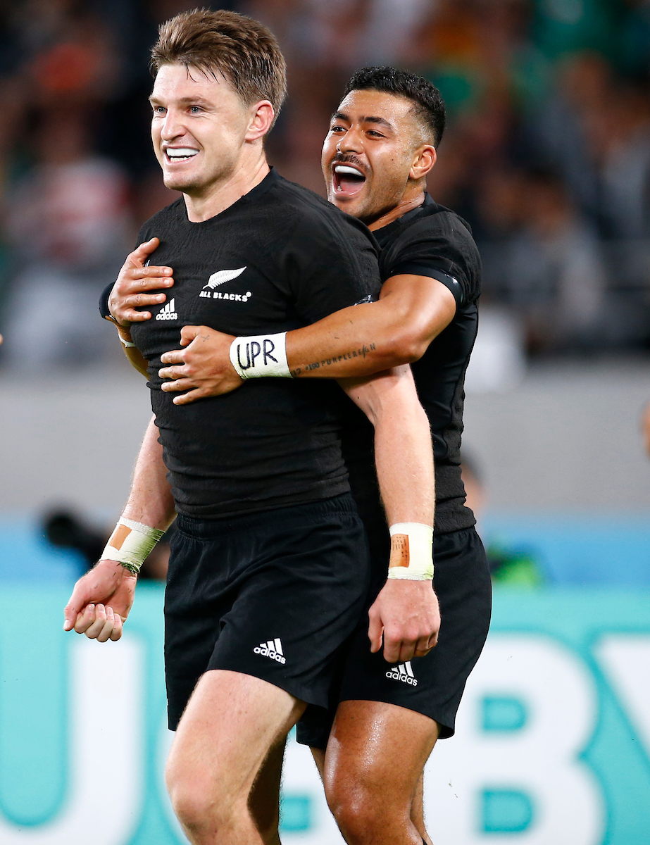 Beauden Barrett with Richie Mo'unga of New Zealand (All Blacks) after his try during the New Zealand and Ireland Rugby World Cup Quarter-Final at the Tokyo Stadium, Nishimachi,