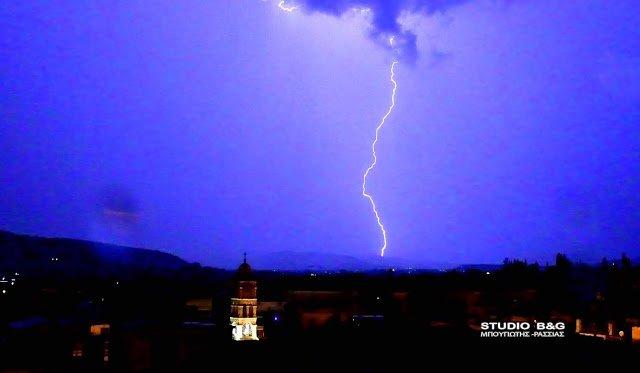 Ισχυρή καταιγίδα στο Ναύπλιο