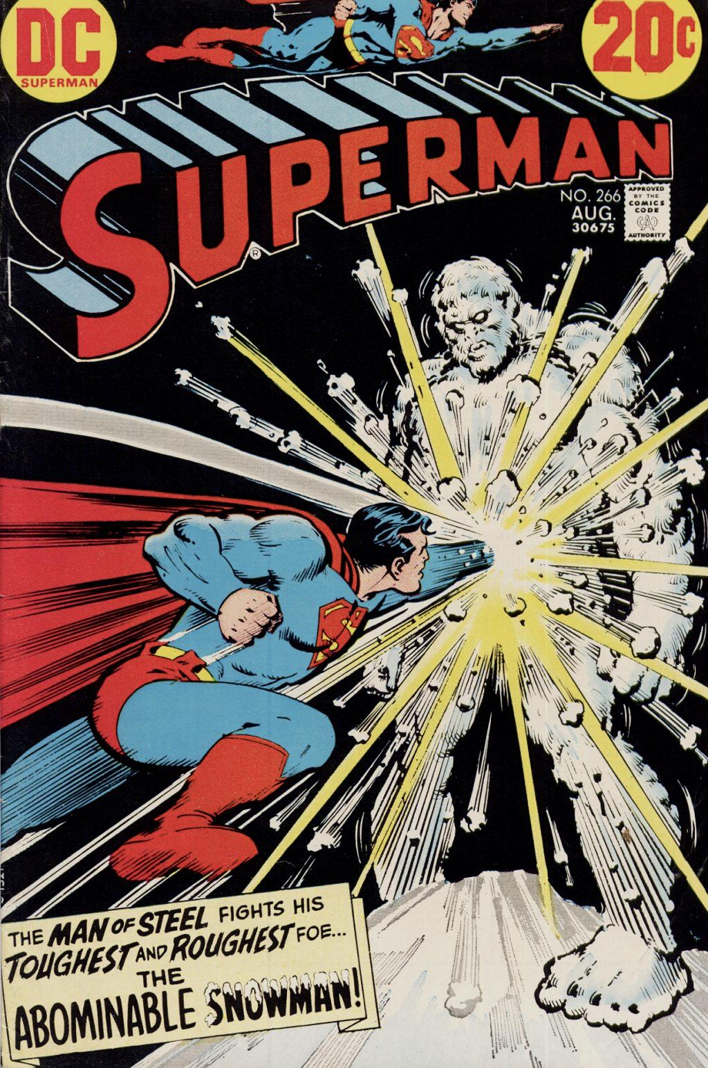 Superman throwing a mighty punch at stomach of unmoving Abominable Snowman