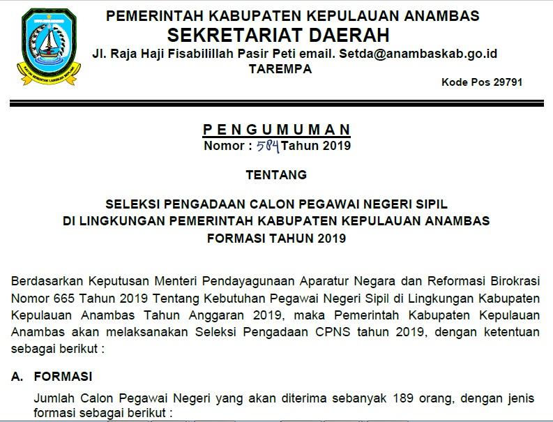 Download Formasi CPNS Kabupaten Kepulauan Anambas Provinsi Kepulauan Riau Tahun 2019