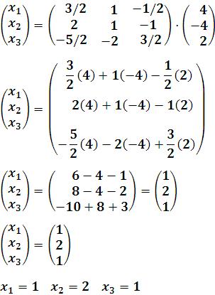Solución de la matriz de variables X