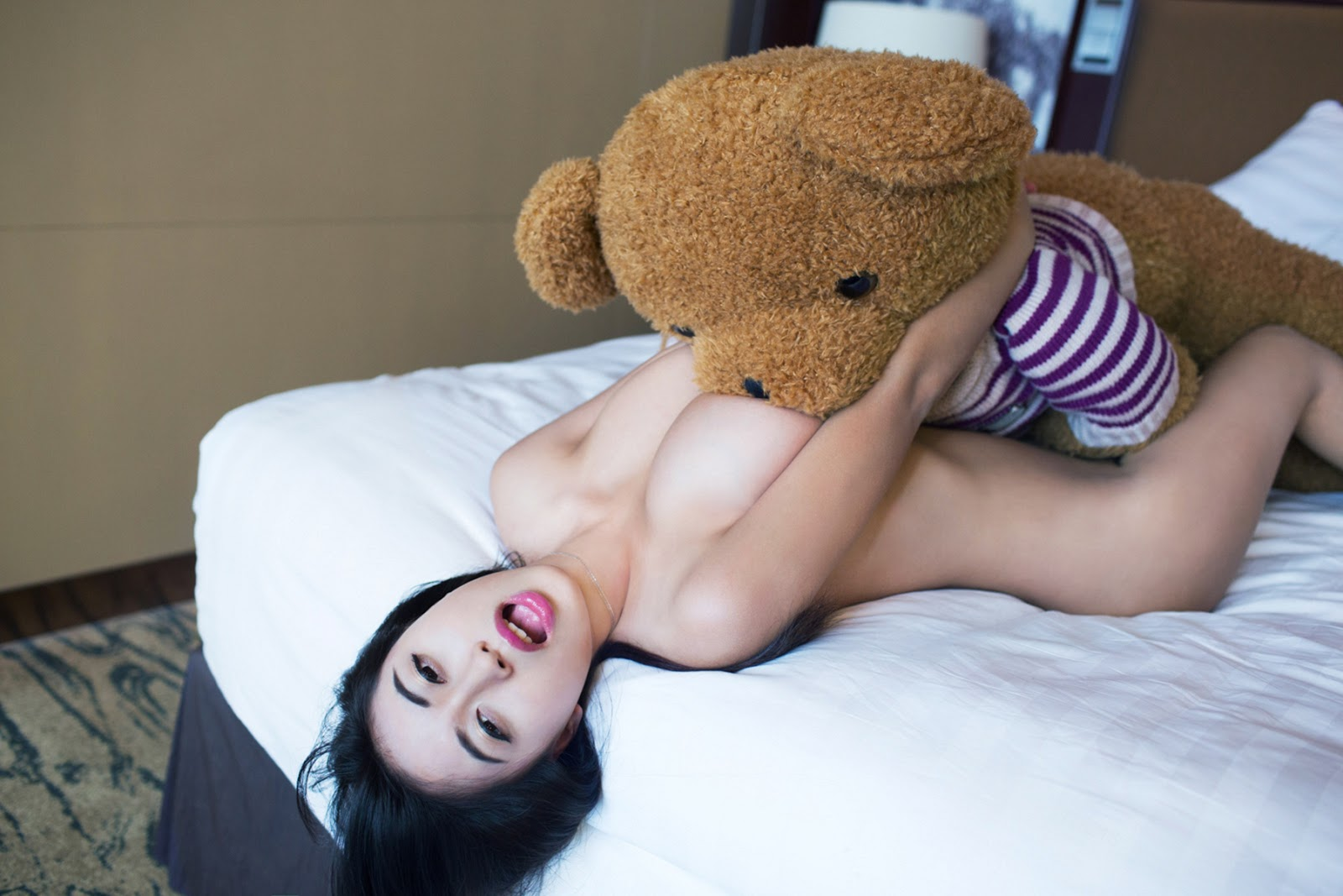 Girl humping teddy bear