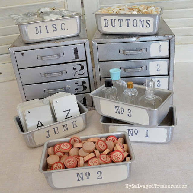Updated flea market finds. Stamped and stenciled metal drawers and tins from MySalvagedTreasures.com