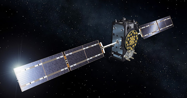 An artist's rendering of a Galileo satellite in orbit around Earth. Image Credit: Arianespace