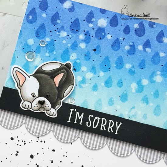 Missing You and I'm Sorry Puppy Cards by Andrea Shell | Puppy Playtime Stamp Set, Heartfelt Essentials Stamp Set, Raindrops Stencil and Sky Borders Die Set by Newton's Nook Designs #newtonsnook #handmade