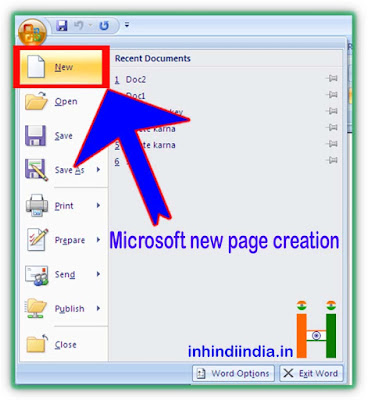 microsoft new page create