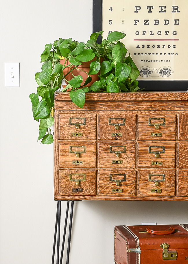 Refinished vintage card catalog drawers