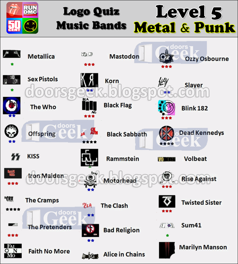 Logo Quiz - Music Bands [Level 5 - Metal and Punk] ~ Doors ...