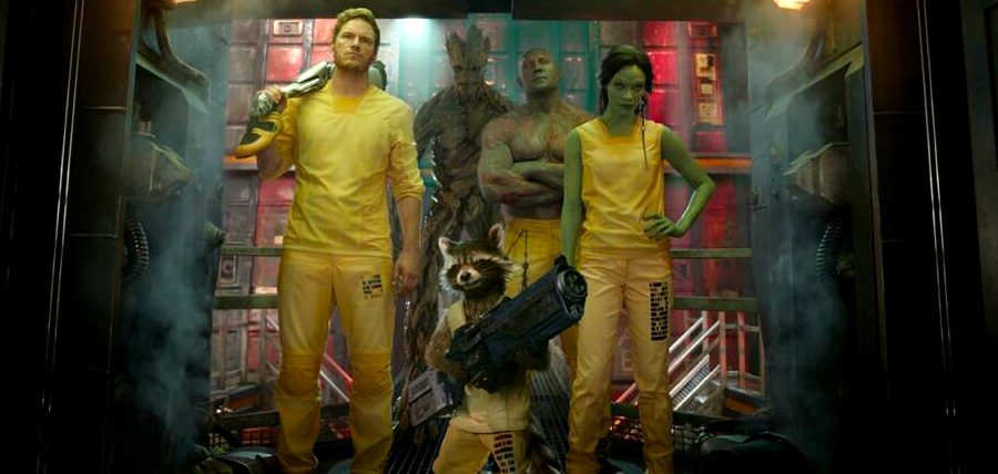 Star Lord, Groot, Drax The Destroyer, Gamora şi Rocket în Gardienii Galaxiei