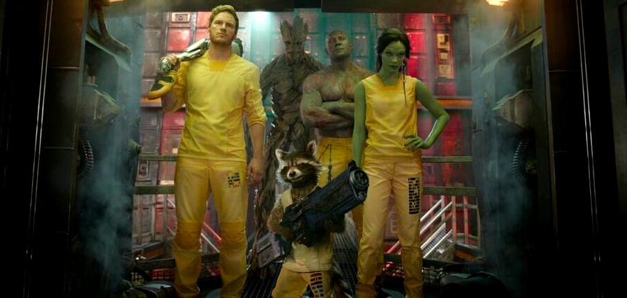 Star Lord, Groot, Drax The Destroyer, Gamora şi Rocket în Gardienii Galaxiei