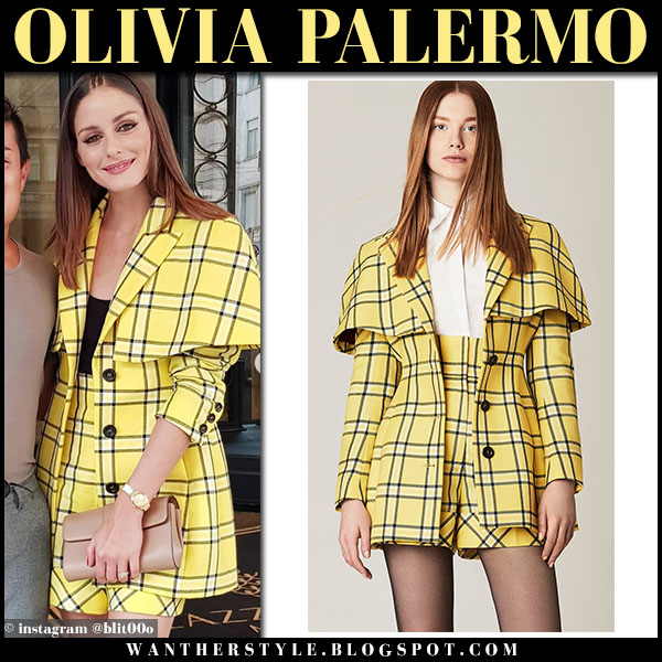 Olivia Palermo in yellow checked cape jacket and matching yellow shorts by sara battaglia fashion week outfits september 21