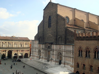 The Basilica di San Petronio, with its unfinished facade, is the largest brick-built Gothic church in the world
