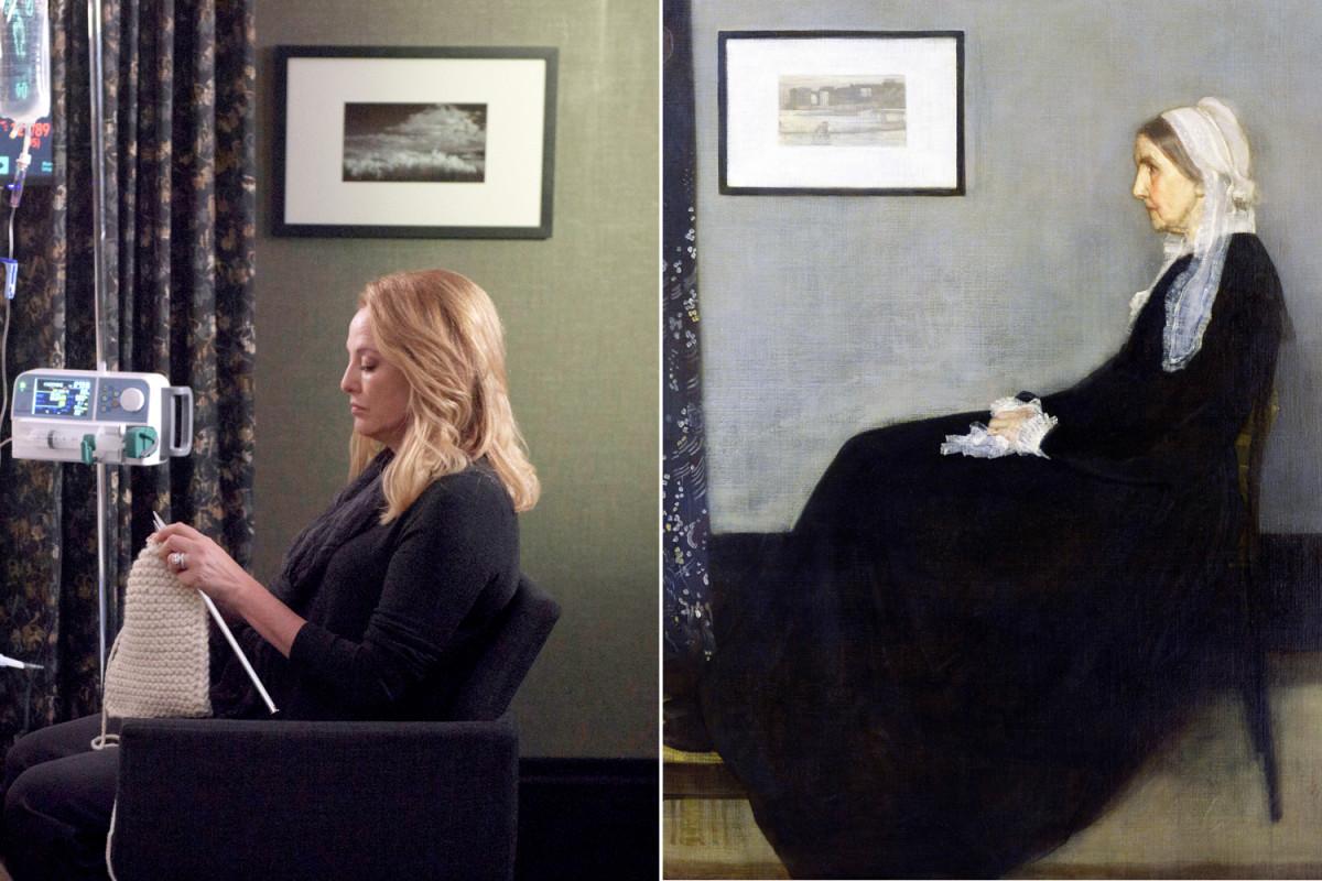 Virginia Madsen teje en el hospital, igual que la protagonista del cuadro Retrato de la madre del artista