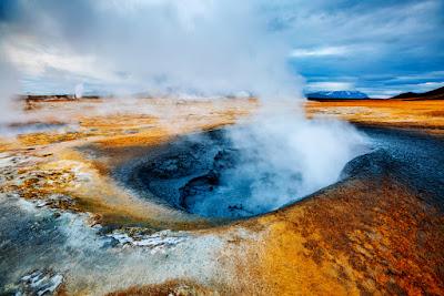 Hverir geothermal area is an alien-like, barren landscape with bubbling blue mud