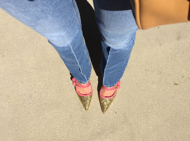 Lavender and Blue Jeans Outfit - looking down at glitter shoes.