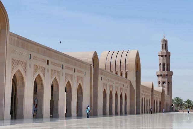 Seitengang, Bögen, Sultan, Qabus, Moschee, Muscat, Oman, Minarett