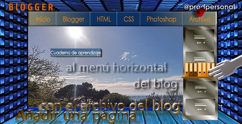 Añadir una página de archivo en el menú horizontal del blog
