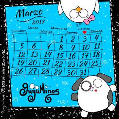 Calendario mes de Marzo 2017 Guyuminos con  perrito y pollito
