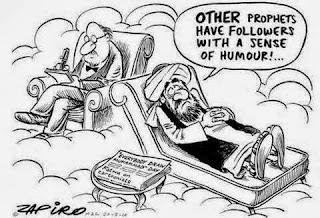 Funny cartoon - Muhammad - Psychologist - Other prophets have followers with a sense of humour cartoon