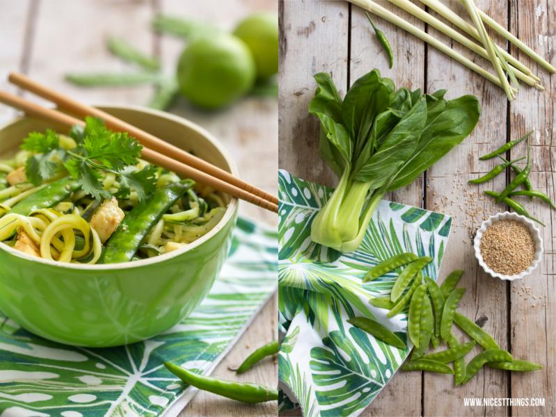 Thai Zucchini Spaghetti Zoodles mit Pak Choi und Tofu #thai #zoodles #zucchini #cleaneating #lowcarb