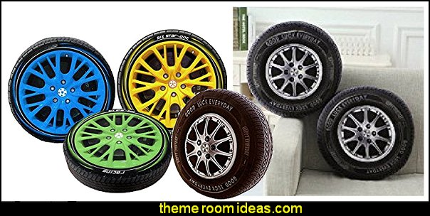 tire throw pillows  transportation theme bedroom decorating ideas - Planes, trains, cars and trucks decor - transportation bedroom ideas -  transportation vehicles theme bedrooms - tire throw pillows - cars trucks wall decals - transportation bedding - police cars - polce bedding - heroes bedding