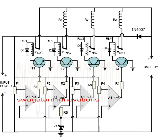lm324 battery monitor circuit diagram