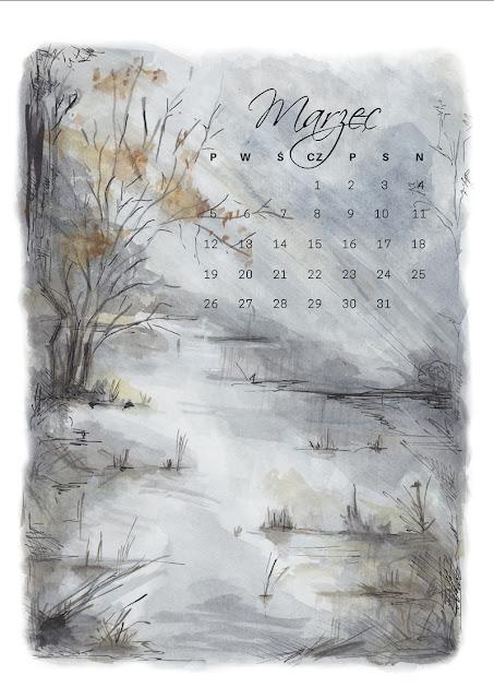 kalendarz do pobrania, za darmo, freebies, malowany ręcznie kalendarz 2018 do pobrania na blogu www.any-blog.pl