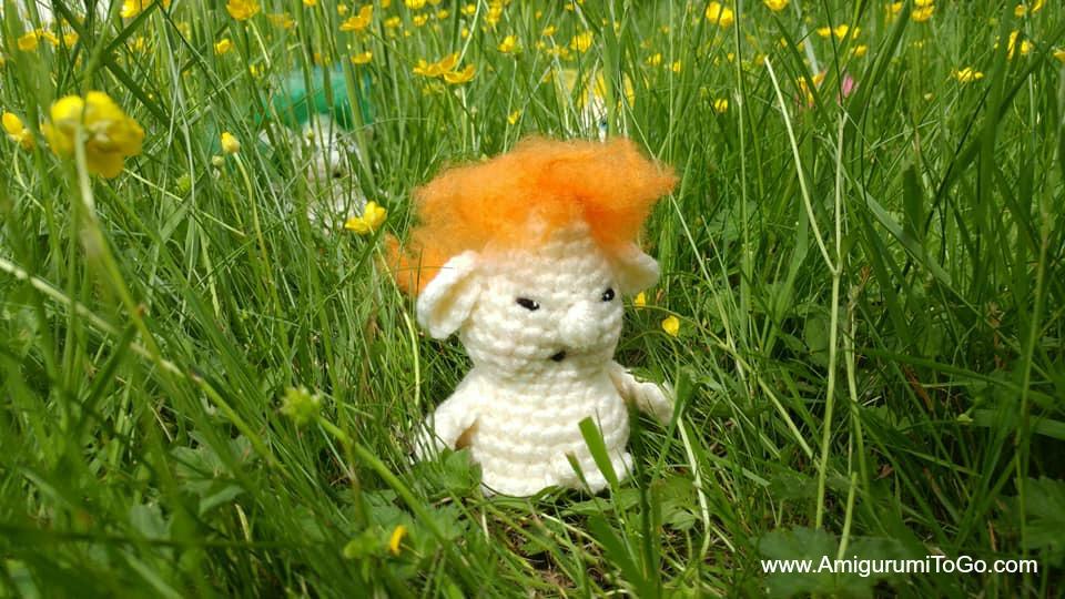 crochet troll with orange hair